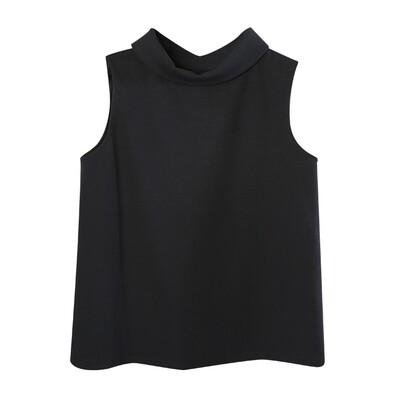 Retro Collar Double Knit Tank Top