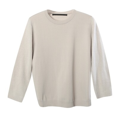 Chenille Yarn Blocking Mock Neck Sweater