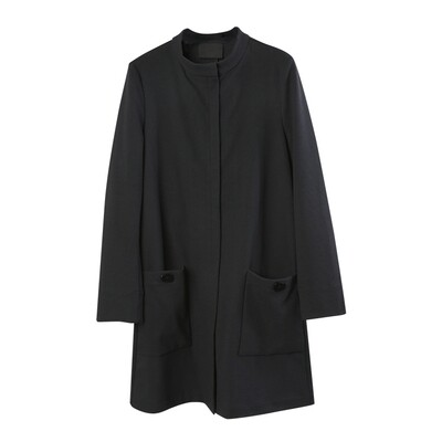 Button-Embellished Stand Collar Long Jacket