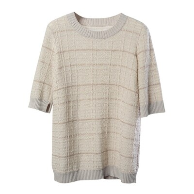 Tweed Stitch Round Neck Sweater