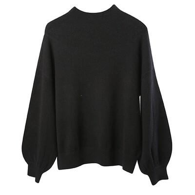 Balloon Sleeve Mock Neck Sweater