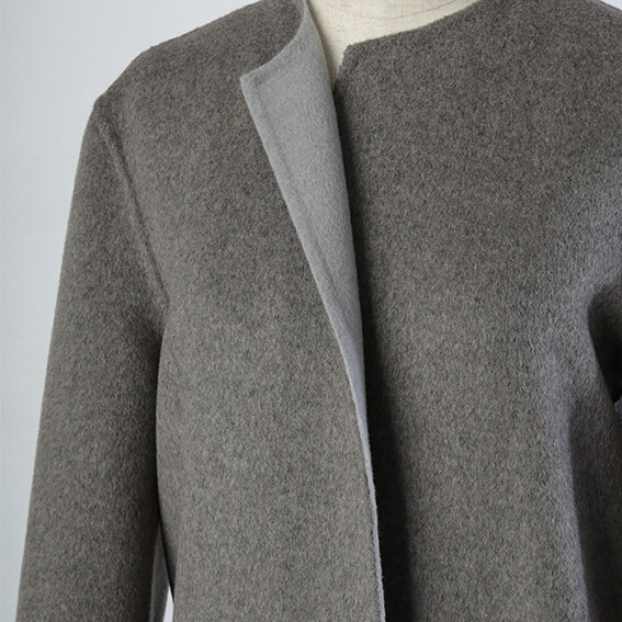 Cashmere Wool Mixed Embroidery Hem Double Faced Coat