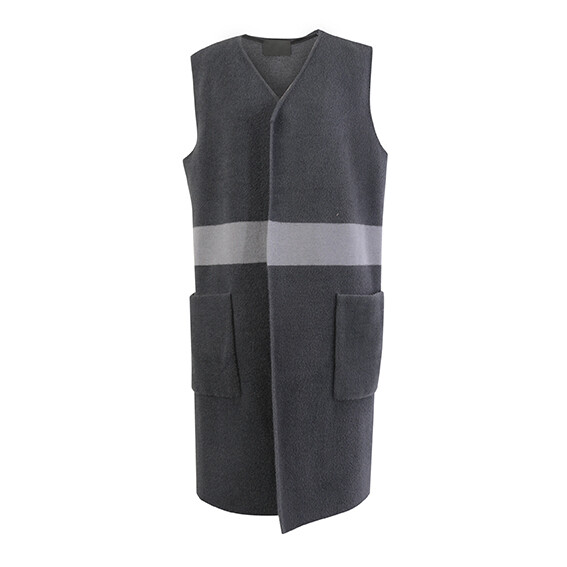 Nylon Fur Knitted Waist Sleeveless Coat