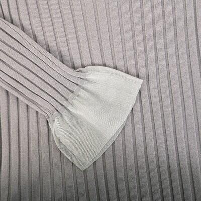 Transparent Cuff Ribbed Stitch Sweater