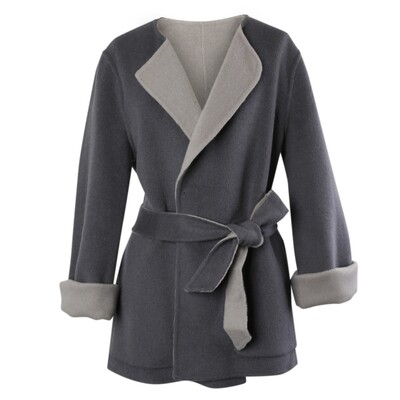 Collarless Belted Double Faced Wool Coat