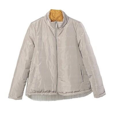 Tulle Pleats Panel Reversible Padded Jacket - Khaki/ Honey