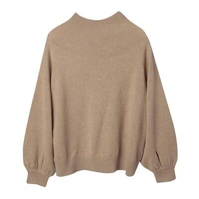 Cashmere Puff Sleeve Mock Neck Sweater - Camel