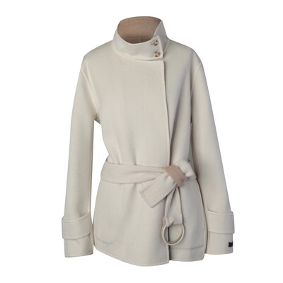 Stand Collar Cashmere Wool Double-Faced Jacket - Vanilla/ Nude