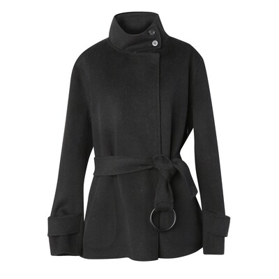 Stand Collar Cashmere Wool Double-Faced Jacket - Black