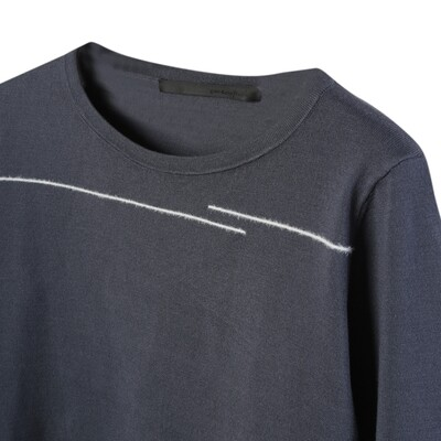 Boat Neck Sweater with Line Embroidery - Bottle Blue