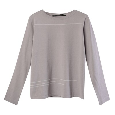 Boat Neck Sweater with Line Embroidery - Haze/ Silver Grey
