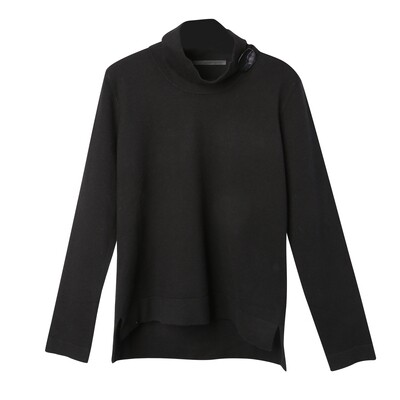 Shell Button Embellished Stand Collar Sweater - Black