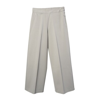 Button-Embellished Double Knit Full-Length Pants