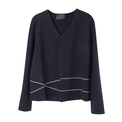 Cashmere Blend Cardigan with Line Embroidery - Blue Night/ Ash