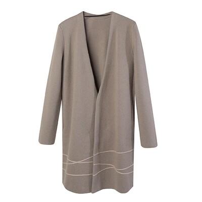 Mohair Line Knit Coat - Walnut / Charcoal