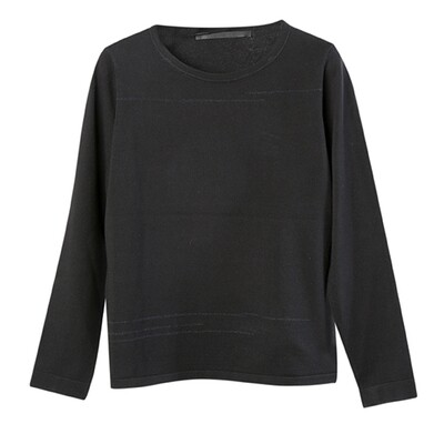 Boat Neck Sweater with Line Embroidery - Black