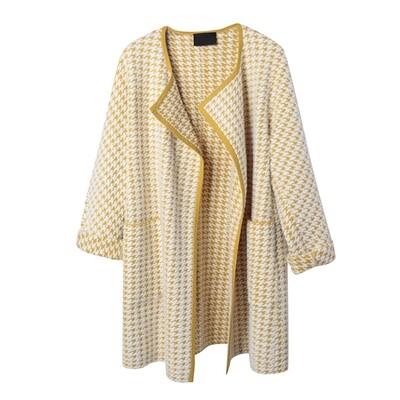 Nylon Fur Houndstooth knitted coat - Jojoba/Eggshell