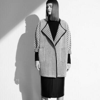 Nylon Fur Houndstooth knitted coat - Black / Eggshell