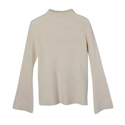 Flared Sleeve Mock Neck Sweater - Almond