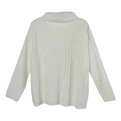 Partial Cable Drop Shoulder Sweater - Vanilla