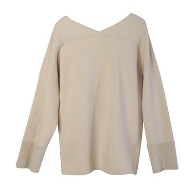 Nylon Fur Cuff V-Neck Sweater - Champagne