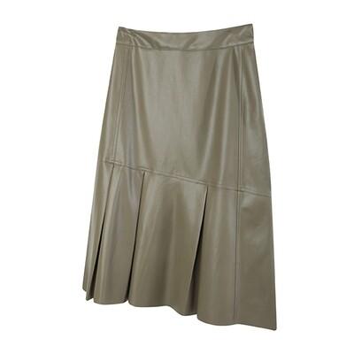 Faux Leather Asymmetric Hem Midi Skirt - Dark Olive