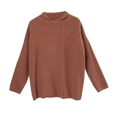 Partial Cable Drop Shoulder Sweater - Crimson