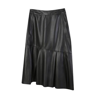Faux Leather Asymmetric Hem Midi Skirt - Black