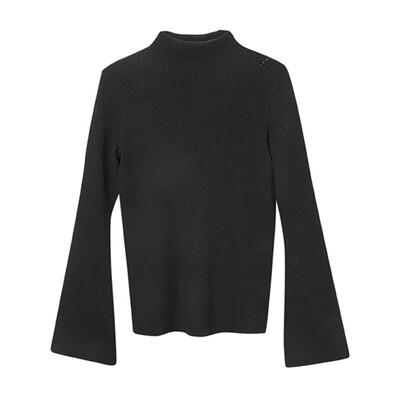 Flared Sleeve Mock Neck Sweater - Black