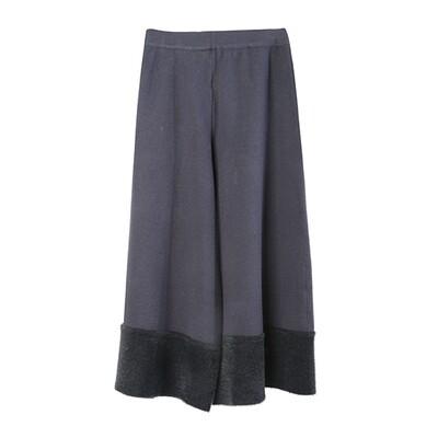 Nylon Fur Hem Knit Culottes - Eclipse