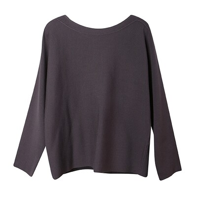 Convex Line Details Batwing Sweater - Night Shade