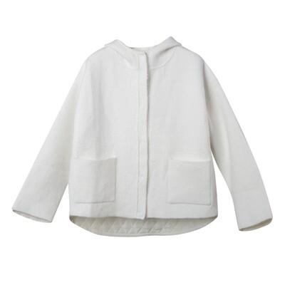 Padded Back Knit Hoodie Jacket - Vanilla