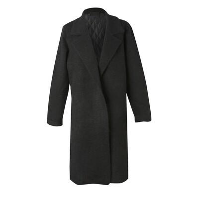 Padded Back Knit Long Blazer - Black