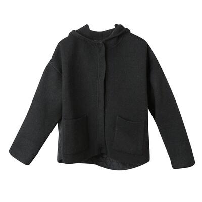 Padded Back Knit Hoodie Jacket - Black
