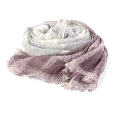 Gradient Checked Wool Shawl - Night Shade