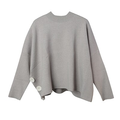 Faux Leather Button Batwing Sweater -  Cloud Grey