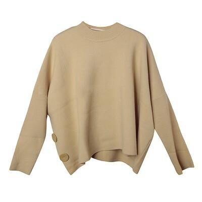 Faux Leather Button Batwing Sweater -  Jojoba