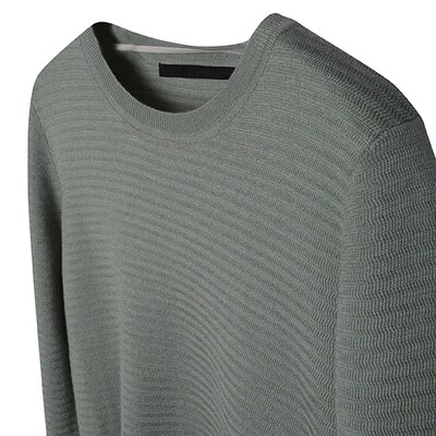 Racked Stitched Crew Neck Sweater - Mint