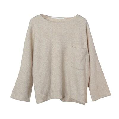 Camel-Blend Boxy Sweater - Oatmeal