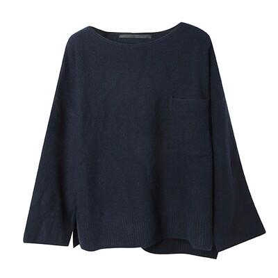 Camel-Blend Boxy Sweater - Navy