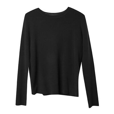 Rack-Stitch Crew Neck Sweater - Black