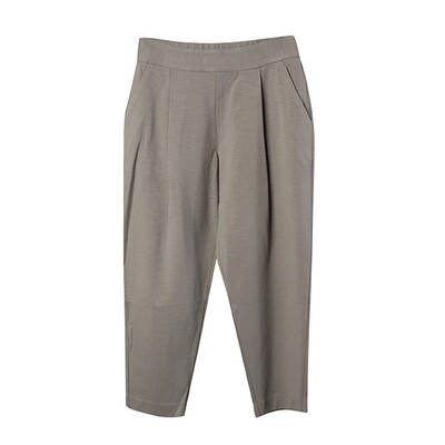 Ring Spun Knit Pleated Tapered Pants - Taupe