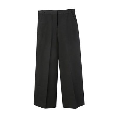 Ring Spun Knit Strap Details Wide Leg Pants - Black