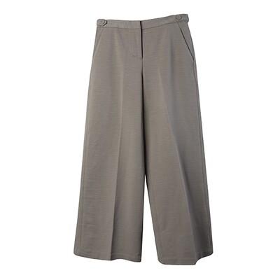 Ring Spun Knit Strap Details Wide Leg Pants - Taupe