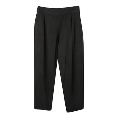 Ring Spun Knit Pleated Tapered Pants - Black
