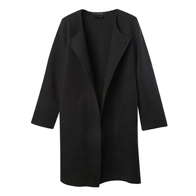 Long Cardigan with Line Embroidery - Black