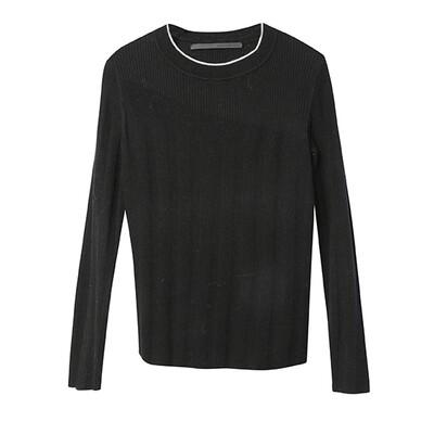 Rib Stitch Blocking Sweater-Black