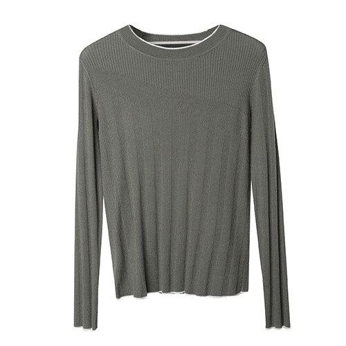 Rib Stitch Blocking Sweater-Olive/Eggshell