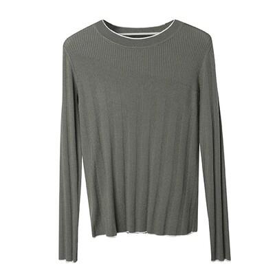 Rib Stitch Blocking Sweater-Olive/Eggshell