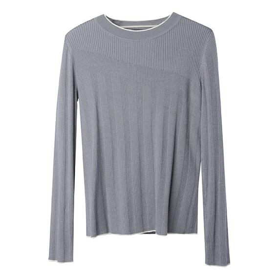 Rib Stitch Blocking Sweater-Pearl Blue/Eggshell